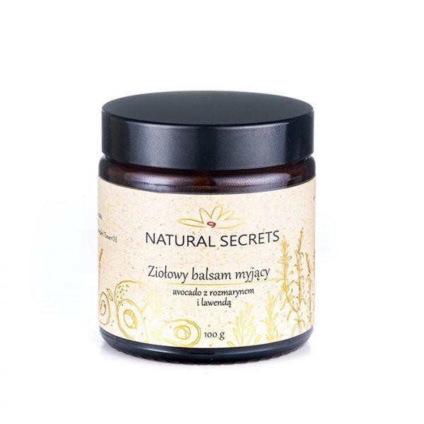 Natural Secrets - Ziołowy balsam myjący Avocado z Rozmarynem i Lawendą - do cery mieszanej i tłustej, 100g