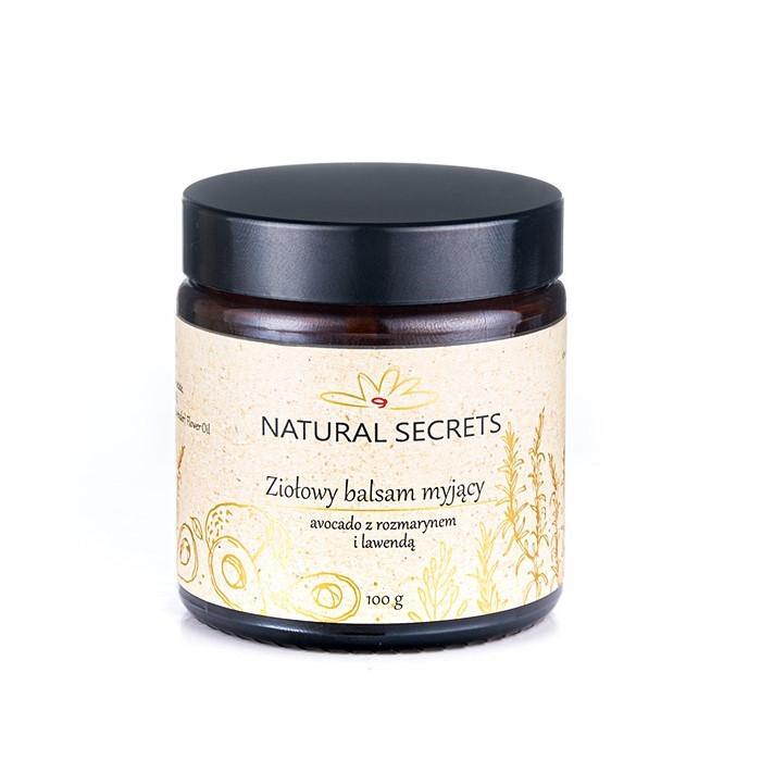 Natural Secrets – Ziołowy balsam myjący Avocado z Rozmarynem i Lawendą – do cery mieszanej i tłustej, 100g