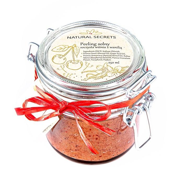 Natural Secrets – Peeling solny do ciała – Soczysta wiśnia z wanilią, 250ml