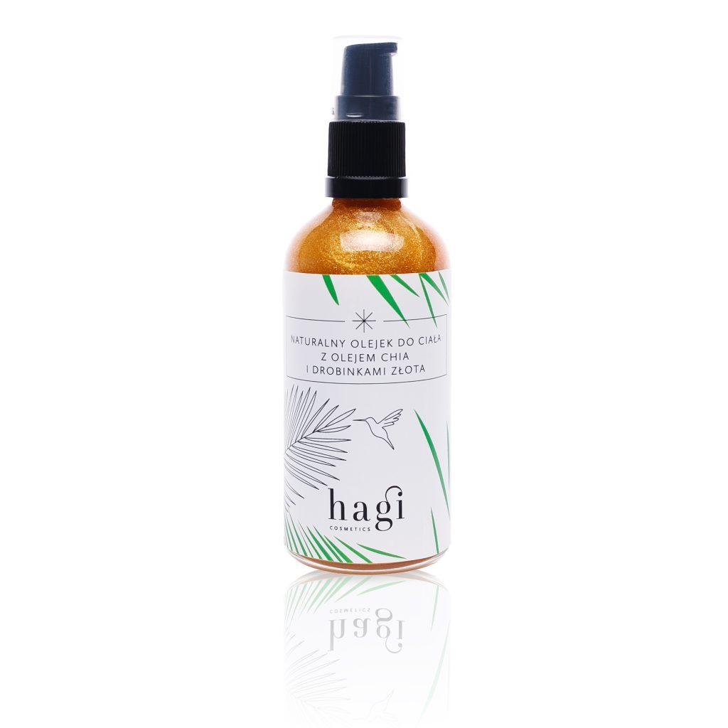 Hagi – naturalny olejek do ciała z olejem CHIA i drobinkami złota ważność 06.2019