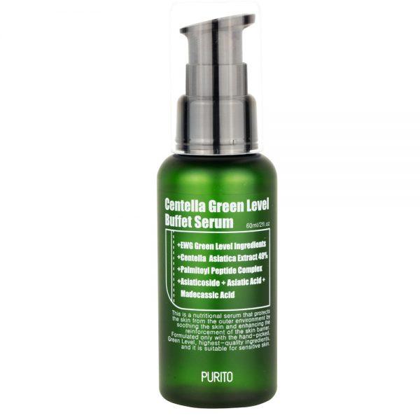 PURITO – Centella Green Level Buffet Serum Odżywcze serum do twarzy z ekstraktem z wąkrotki azjatyckiej, 60ml