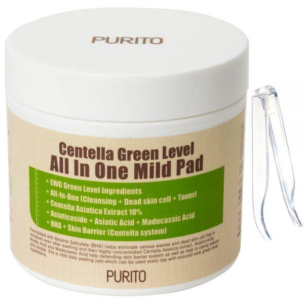 PURITO – Centella Green Level All In One Mild Pad – Oczyszczające płatki do twarzy z wyciągiem z wąkrotki azjatyckiej, 70sztuk