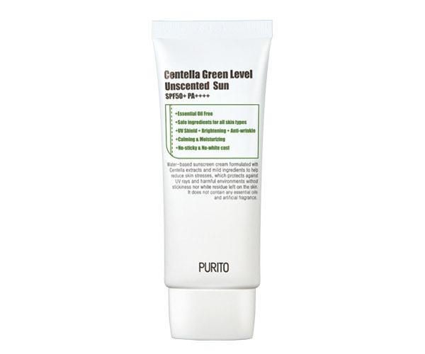 Purito – Centella Green Level Unscented Sun SPF50 + PA++++ – Bezzapachowy Krem z Filtrem SPF50+ PA++++ na bazie wąkrotki azjatyckiej,60ml