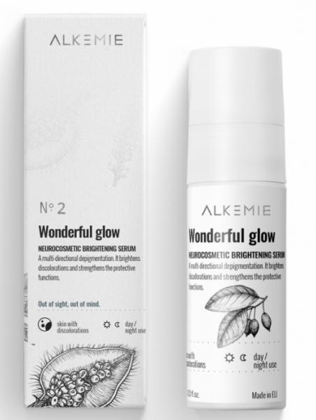 Alkemie, SNOW WHITE, Wonderful glow, Neurokosmetyczne serum rozjaśniające, 30 ml