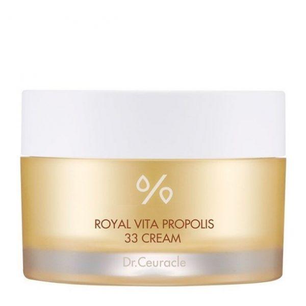 cylindryczne złote opakowanie z kremem Dr.Ceuracle - Royal Vita Propolis 33 Cream