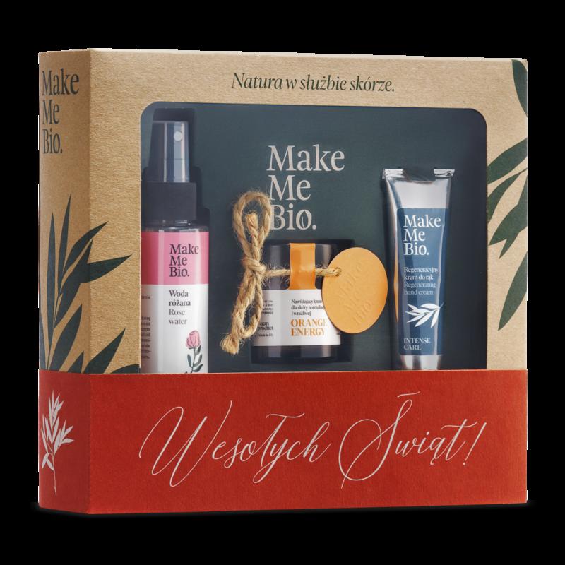Make me Bio – Zestaw Świąteczny Orange Energy: Krem do twarzy + Woda różana + krem do rąk