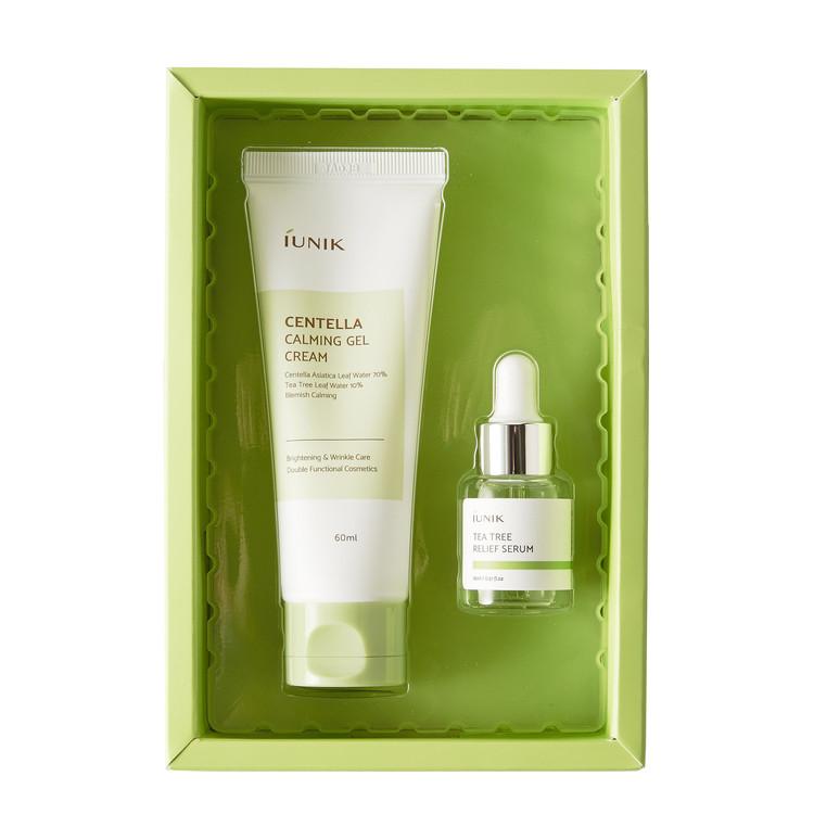 IUNIK – Centella Edition Skincare Set: Centella Calming Gel Cream_60ml  + Tea Tree Relief Serum_15ml
