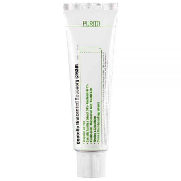 Purito - Centella Unscented Recovery Cream - Bezzapachowy Regenerujący Krem na Bazie Wąkroty Azjatyckiej, 50ml