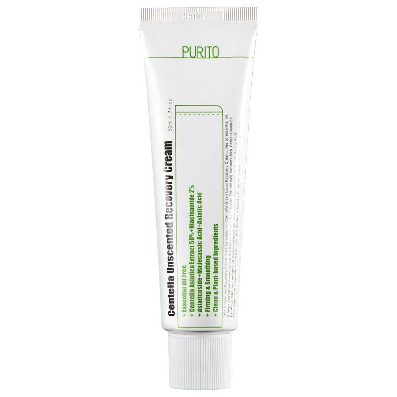 Purito – Centella Unscented Recovery Cream – Bezzapachowy Regenerujący Krem na Bazie Wąkroty Azjatyckiej, 50ml