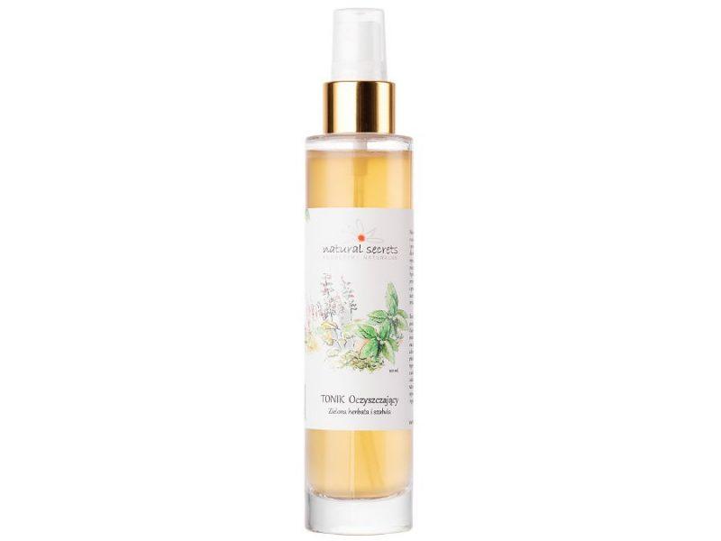 Natural Secrets – Tonik oczyszczający zielona herbata i szałwia – w szklanej butelce, wazność 02/2021