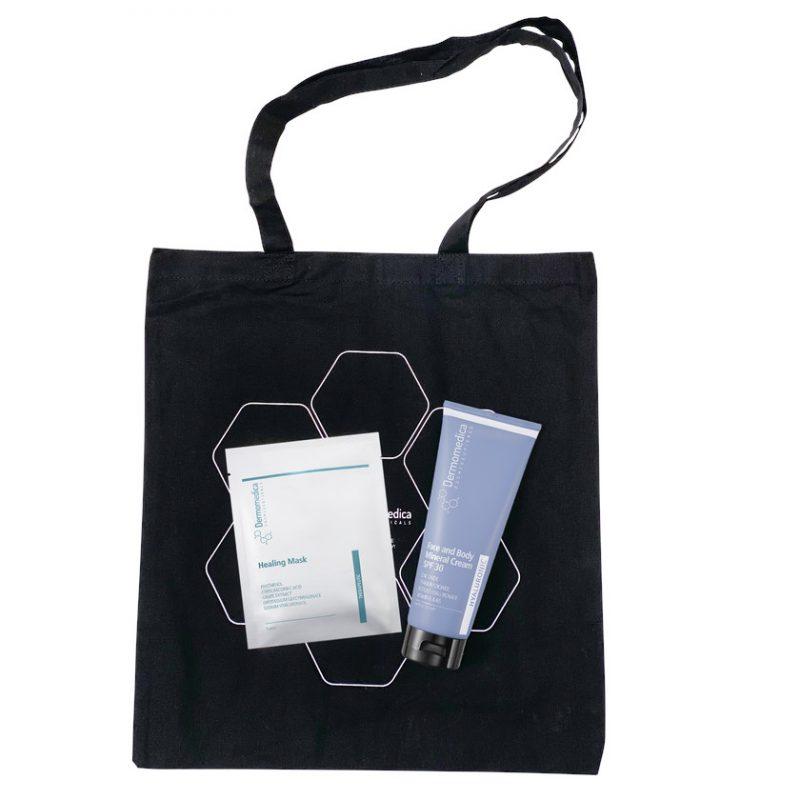Dermomedica – ZESTAW WAKACYJNY: Face & Body Mineral Cream SPF30 + Healing Mask + czarna plażowa torba