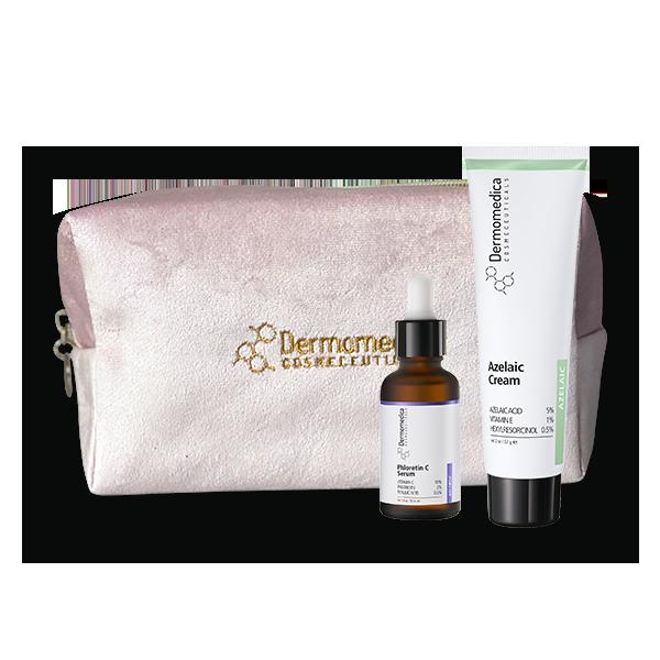 Dermomedica – Zestaw: Phloretin C Serum 30ml + Azelaic Cream 60ml + Aksamitna Kosmetyczka