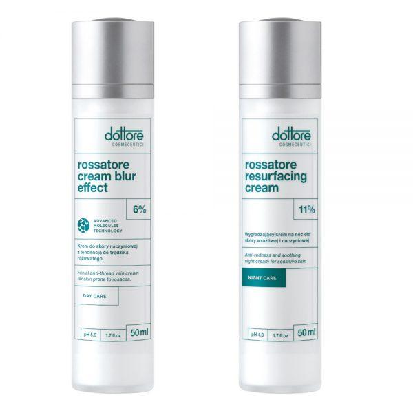 Dottore - ZESTAW KURACJA WZMACNIAJĄCA: Rossatore Cream Blur Effect 50ml + Rossatore Resurfacing Cream 50ml