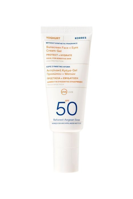 Korres – YOGHURT Face & Eyes Sunscreen SPF50 Fragrance free, Bezzapachowy krem do twarzy i oczu SPF50, 40ml