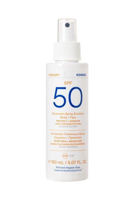 Korres – YOGHURT Face&Body Spray Emulsion SPF50 – Emulsja ochronna do ciała i twarzy SPF50, 150ml
