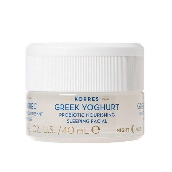 Korres - Greek Yoghurt Probiotic Nourishing Sleeping Facial - Odżywczy krem-maska na noc z greckim jogurtem, 40ml