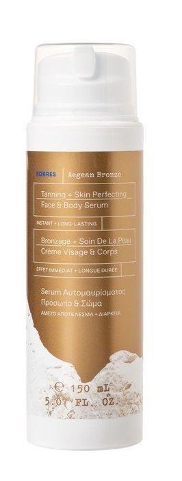 Korres – Aegean Bronze Tanning Serum Medium Shade – Serum samoopalające i upiększające do twarzy i ciała, 150ml