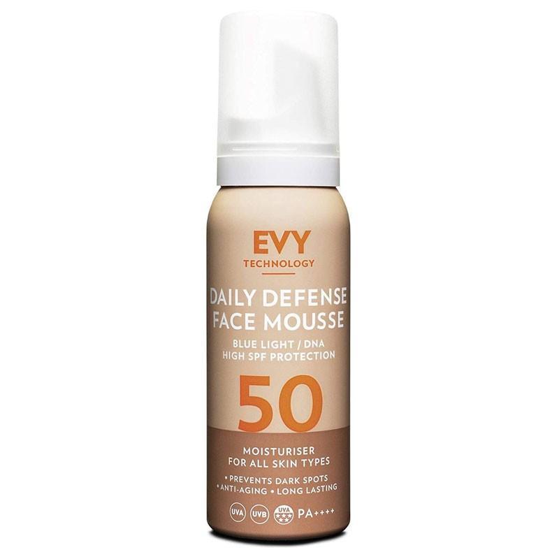 EVY – Daily Defense Mousse SPF50 – Pianka ochronna do twarzy z filtrem UV SPF 50, 75 ml