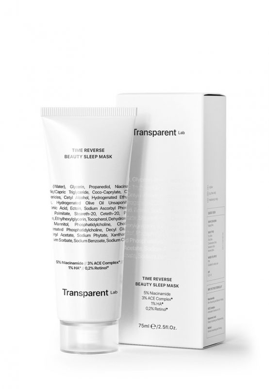 Transparent Lab – Time Reverse Beauty Sleep Mask – Przeciwstarzeniowa upiększająca maska nocna do twarzy z retinolem, 75ml