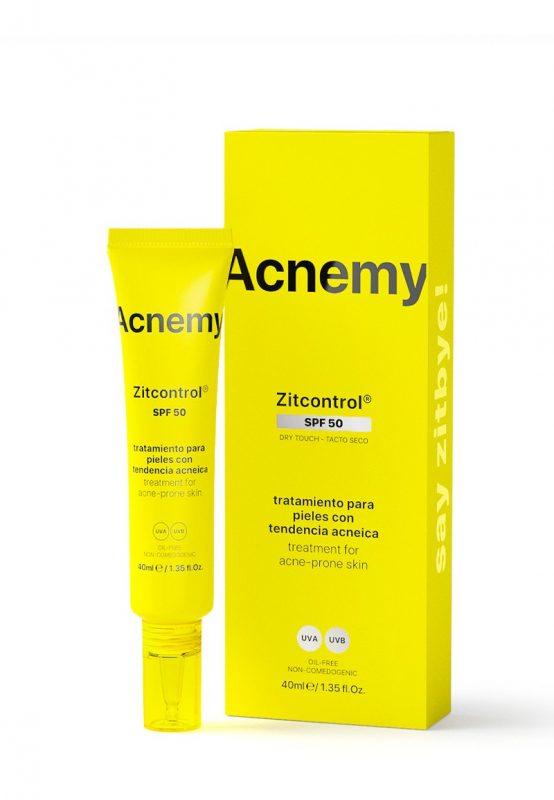 Acnemy – Zitcontrol SPF50 2-in-1 SPF 50 Sunscreen + Acne Treatment, Ochrona przeciwsłoneczna i walka z trądzikiem, 40ml