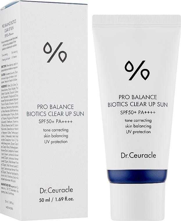 Dr.Ceuracle – Pro Balance Biotics Clear Up Sun SPF50 PA++++ – Lekki krem z probiotykami SPF50, 50ml