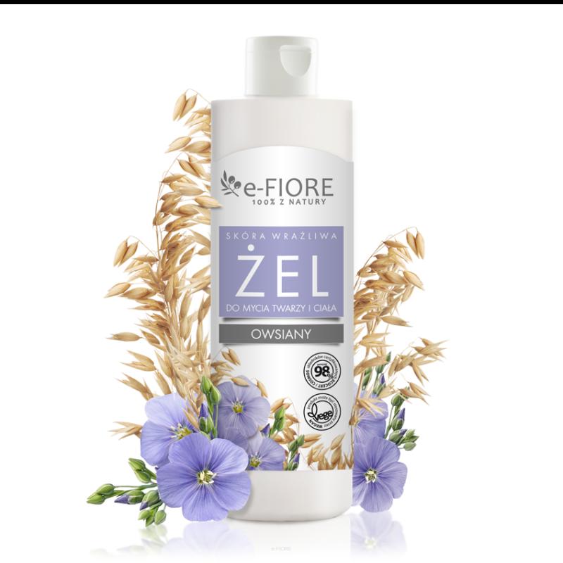 E-Fiore – Naturalny owsiany żel do mycia twarzy i ciała, z siemieniem lnianym i płatkami owsa, skóra sucha250ml